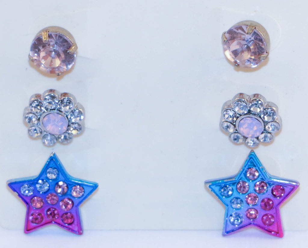 Crystals and Nautical Stud Earrings Set Jewelery - Korean Fashion