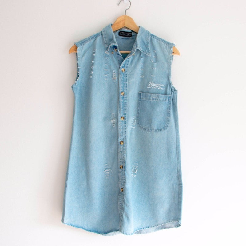 Denim Casual Sleeveless Long Dress Dress - Korean Fashion