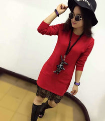 Korean Fashion - Shoes and Clothing - Long Lace Sweater - Dress -  - Gangnam Styles - 3