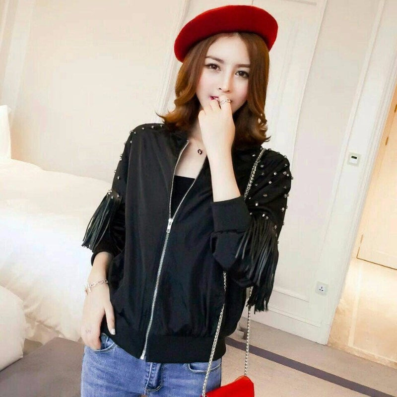 Tassel Wind Breaker Jacket Jacket - Korean Fashion