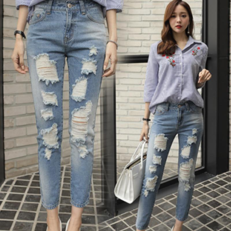 Ripped Jeans Jeans - Korean Fashion