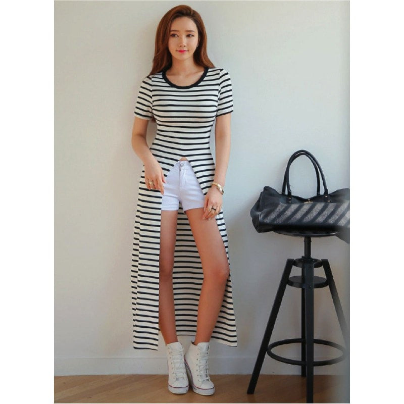 Korean Long Back T-Shirt Top - Korean Fashion