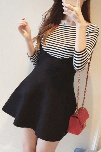 K-Pop Striped Set Dress Set Dress - Korean Fashion