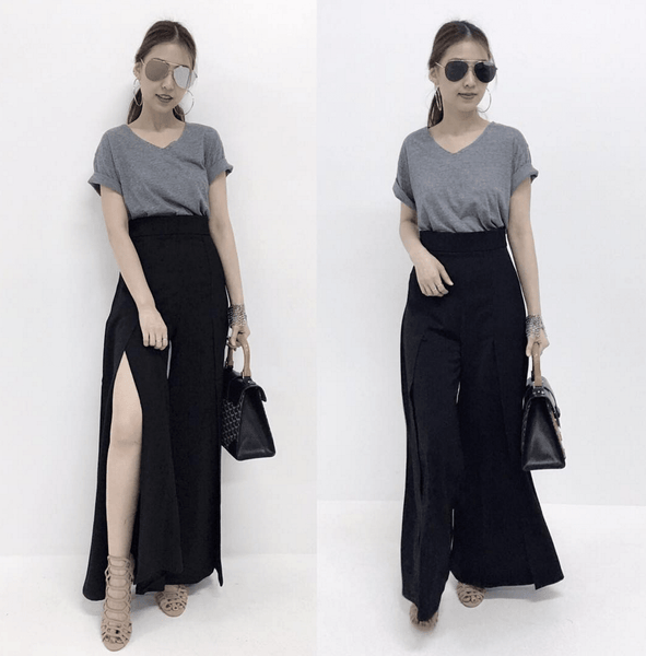 High Waist Two Slits Skirt