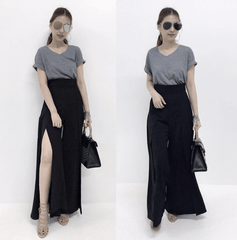 Korean Fashion - Shoes and Clothing - High Waist Two Slits Skirt - Skirt - Free Size / Black - Gangnam Styles - 1