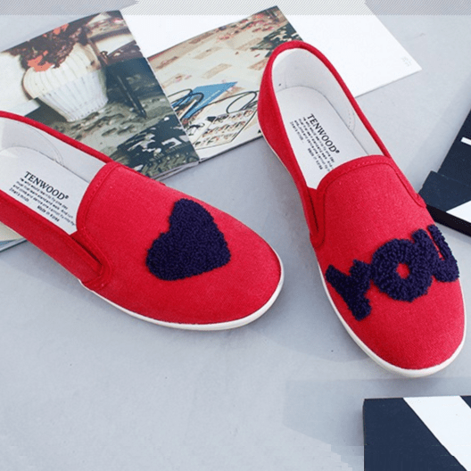 I Love You Loafers Women's Shoes - Korean Fashion