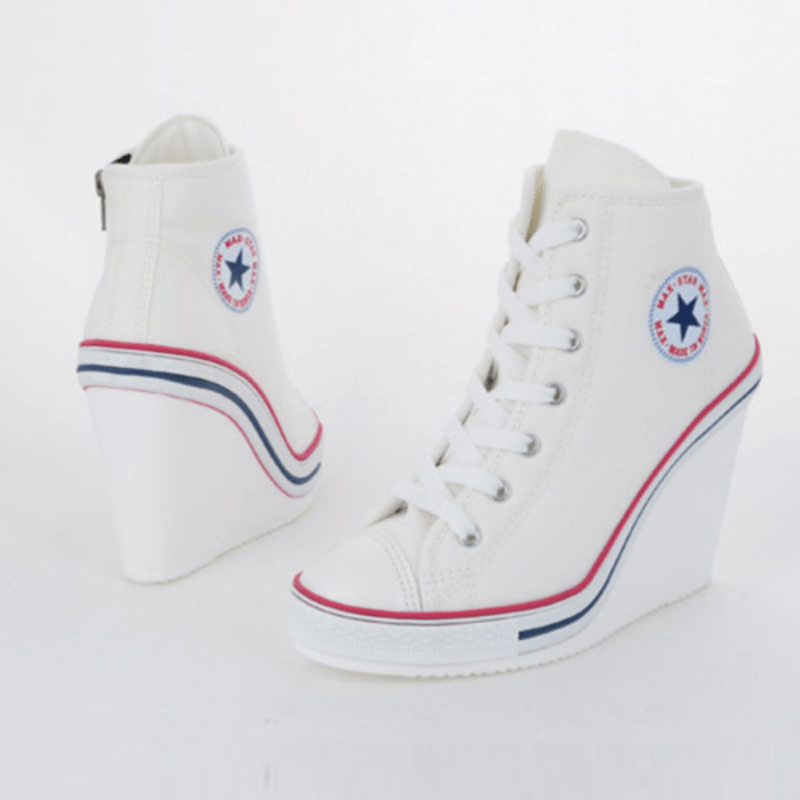 Korean Fashion - Shoes and Clothing - Korean High-Back Platform Wedge Sneakers - Wedge Sneakers - 40 / White - Gangnam Styles - 7