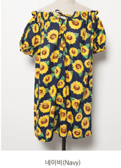 Korean Fashion - Shoes and Clothing - Sunflower Printed Off Shoulder Dress - Dress -  - Gangnam Styles - 7