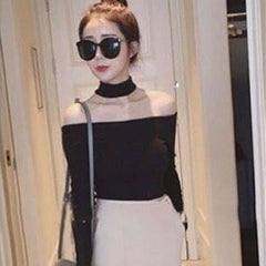 Korean Fashion - Shoes and Clothing - Choker Off Shoulder Top - Top Dress - Free Size / Black - Gangnam Styles - 1