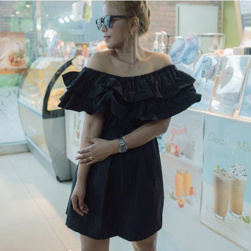 Sophisticated Ruffle Off Shoulder Dress - Korean Fashion