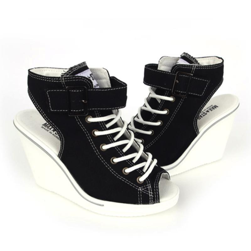 Open Toe Wedge Sneakers Women's Shoes - Korean Fashion