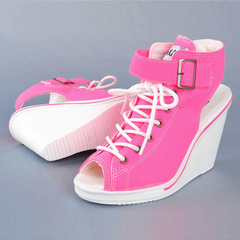 Open Toe Platform Wedge Sneakers Sneakers - Korean Fashion