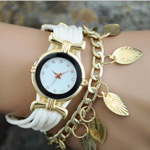 Korean Fashion - Shoes and Clothing - Gold Leaf Jewelery Watch - Watch - White - Gangnam Styles - 2