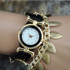Korean Fashion - Shoes and Clothing - Gold Leaf Jewelery Watch - Watch - Black - Gangnam Styles - 3