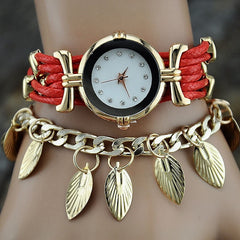 Korean Fashion - Shoes and Clothing - Gold Leaf Jewelery Watch - Watch - Red - Gangnam Styles - 1