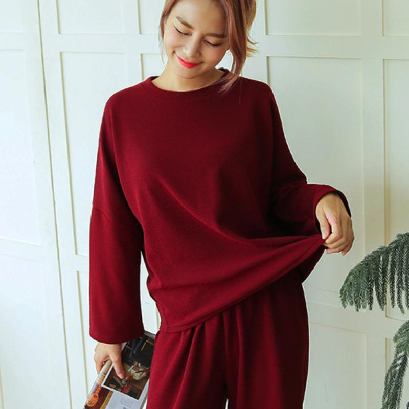 Plain Pants & Round Neck Long Top Set Dress - Korean Fashion