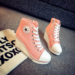 Korean Fashion - Shoes and Clothing - Platform Wedge Sneakers - Wedge Sneakers - 36 / Pink - Gangnam Styles - 3