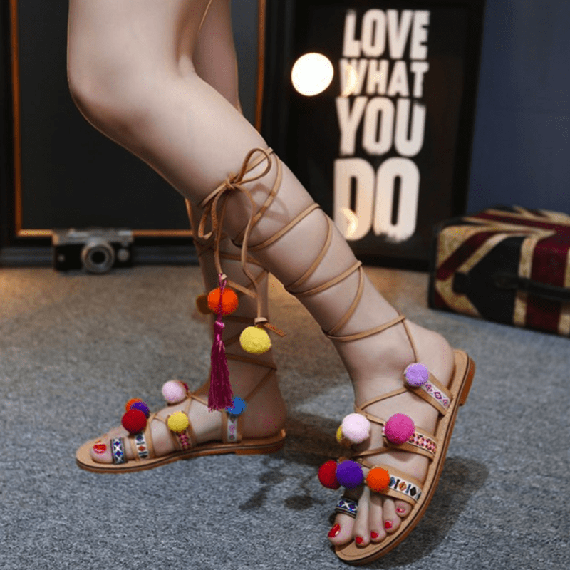 Bohemian Pom Pom Sandals Women's Shoes - Korean Fashion