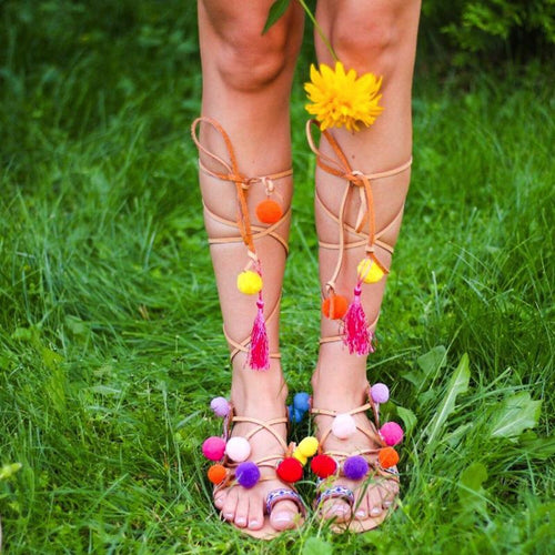 Greek Sandals - Tie Up Gladiator Sandals - Bohemian Pom Pom Sandals