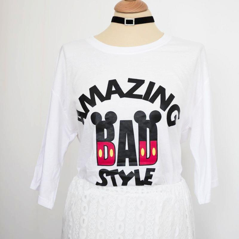 Printed Mickey Mouse Tee Shirt Top - Korean Fashion