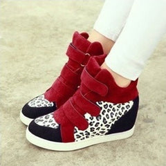 Korean Fashion - Shoes and Clothing - Leopard Wedge Sneakers - Shoes -  - Gangnam Styles - 3