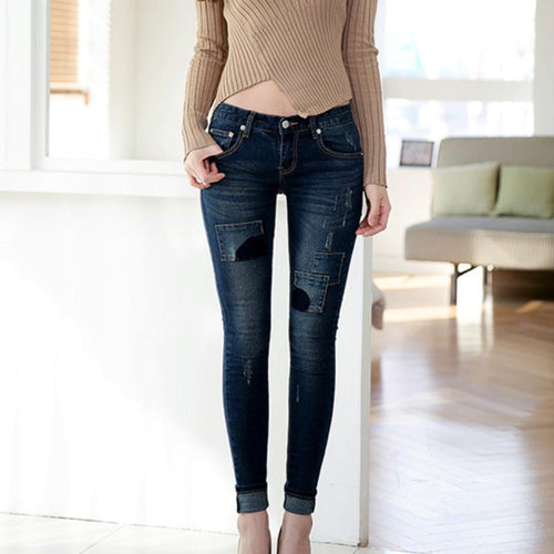 Small Pocket Skinny Jeans - Korean Jeans - Ripped Jeans - Gangnam Styles