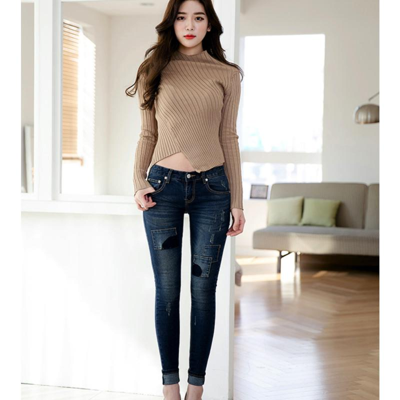Small Pocket Skinny Jeans Jeans - Korean Fashion