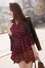 Korean Fashion - Shoes and Clothing - Red Ruffle Dress - Dress -  - Gangnam Styles - 7