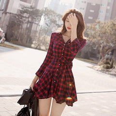 Korean Fashion - Shoes and Clothing - Red Ruffle Dress - Dress -  - Gangnam Styles - 1