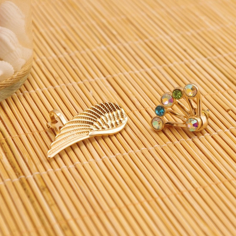 Gold Wing Stud Earrings Jewelery - Korean Fashion