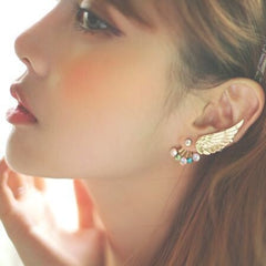 Korean Fashion - Shoes and Clothing - Gold Wing Stud Earrings - Necklace -  - Gangnam Styles - 1