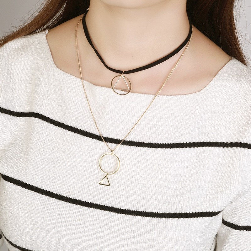 Gothic Triangle Collar Necklace Jewelery - Korean Fashion