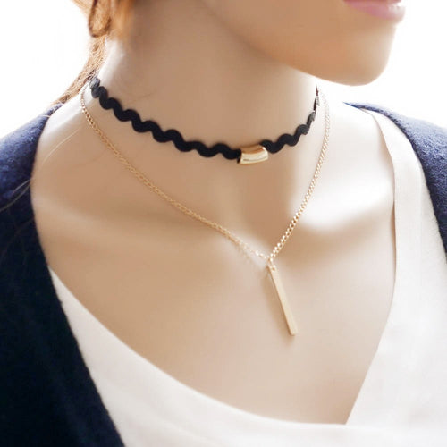 Gold Chain Choker Necklace Necklace - Korean Fashion