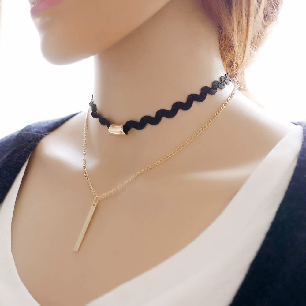 Gold Chain Choker Necklace Jewelery - Korean Fashion