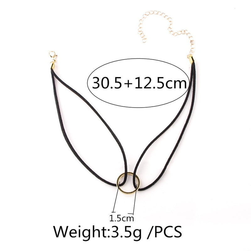 Ring Choker Necklace Jewelery - Korean Fashion