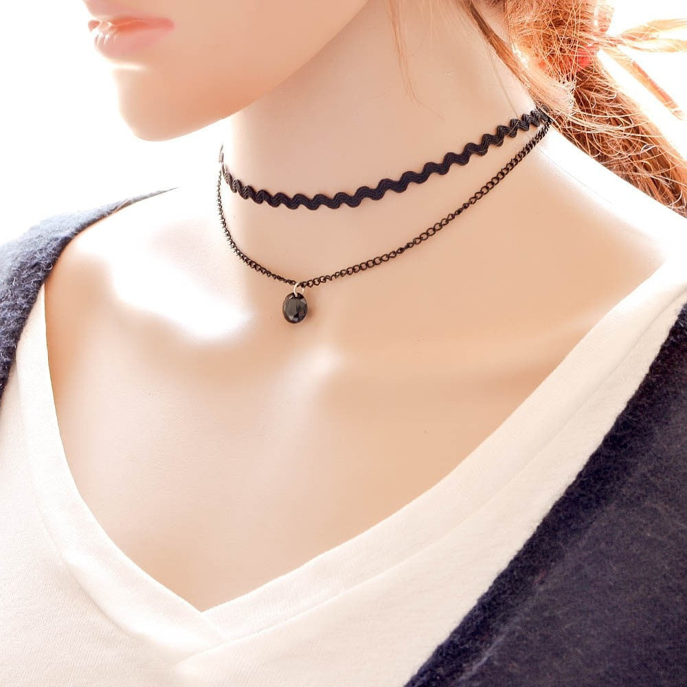 Black Crystal Choker Necklace Jewelery - Korean Fashion