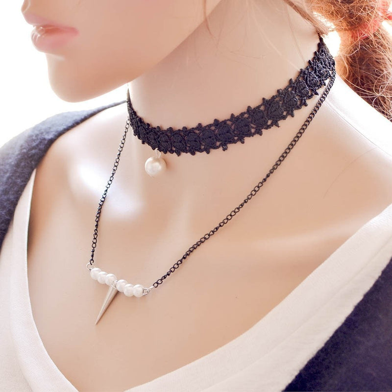 Lace Chain Pearl Choker Necklace Jewelery - Korean Fashion
