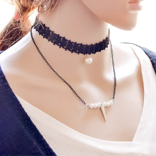Lace Chain Pearl Choker Necklace Necklace - Korean Fashion