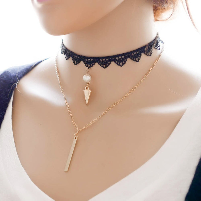 Gold Pendant Choker Necklace Jewelery - Korean Fashion