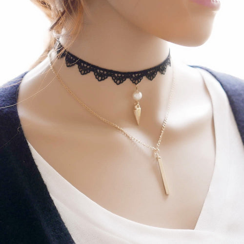 Korean Fashion - Shoes and Clothing - Gold Pendant Choker Necklace - Necklace -  - Gangnam Styles - 1