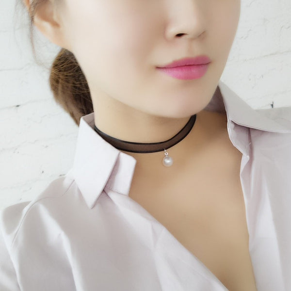 White Pearl Choker Necklace