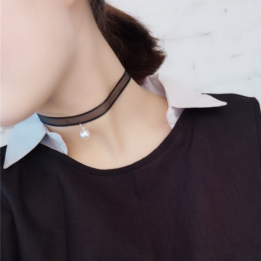 White Pearl Choker Necklace Jewelery - Korean Fashion
