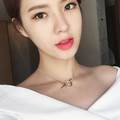 Korean Fashion - Shoes and Clothing - Bar Ring Choker Necklace - Necklace - Gold - Gangnam Styles - 1