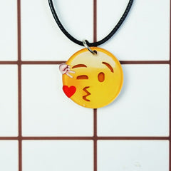 Korean Fashion - Shoes and Clothing - Cartoon Emoji Charm Necklace - Necklace - Heart Kiss Left - Gangnam Styles - 26