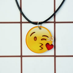Korean Fashion - Shoes and Clothing - Cartoon Emoji Charm Necklace - Necklace - Heart Kiss Right - Gangnam Styles - 21