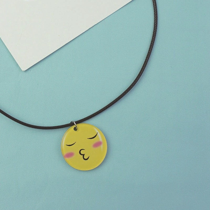 Cartoon Emoji Charm Necklace Jewelery - Korean Fashion