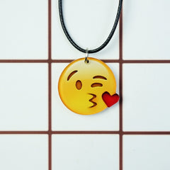Korean Fashion - Shoes and Clothing - Cartoon Emoji Charm Necklace - Necklace - Heart Kiss Right No Hand - Gangnam Styles - 27