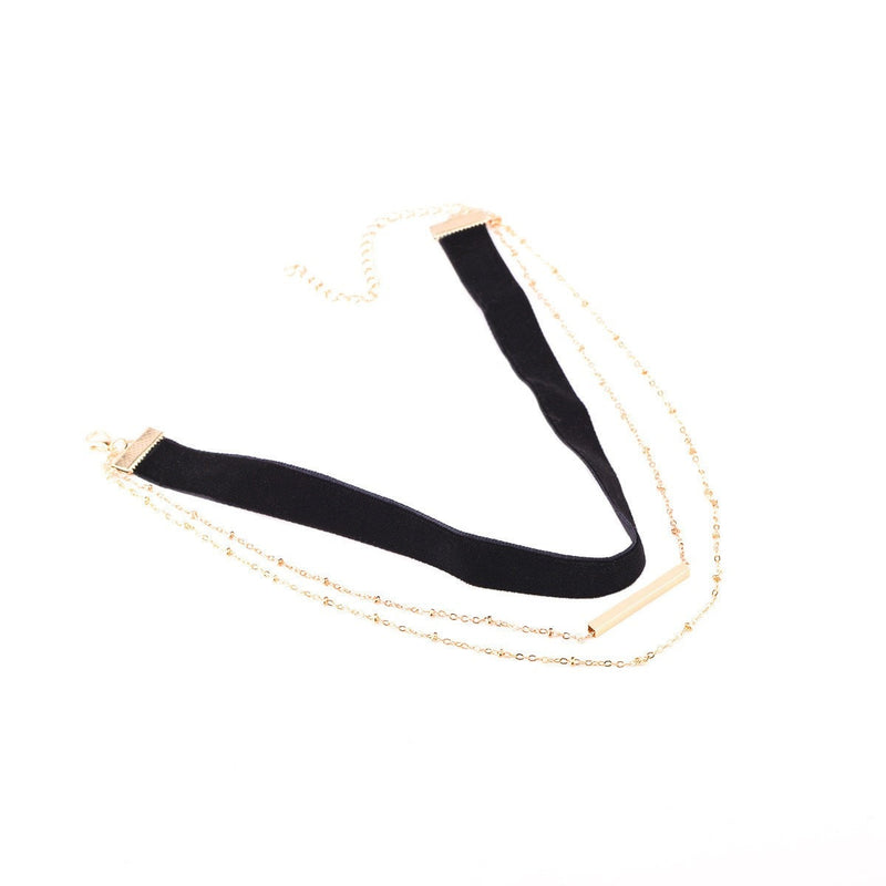 Gold Tube Layer Choker Necklace Jewelery - Korean Fashion