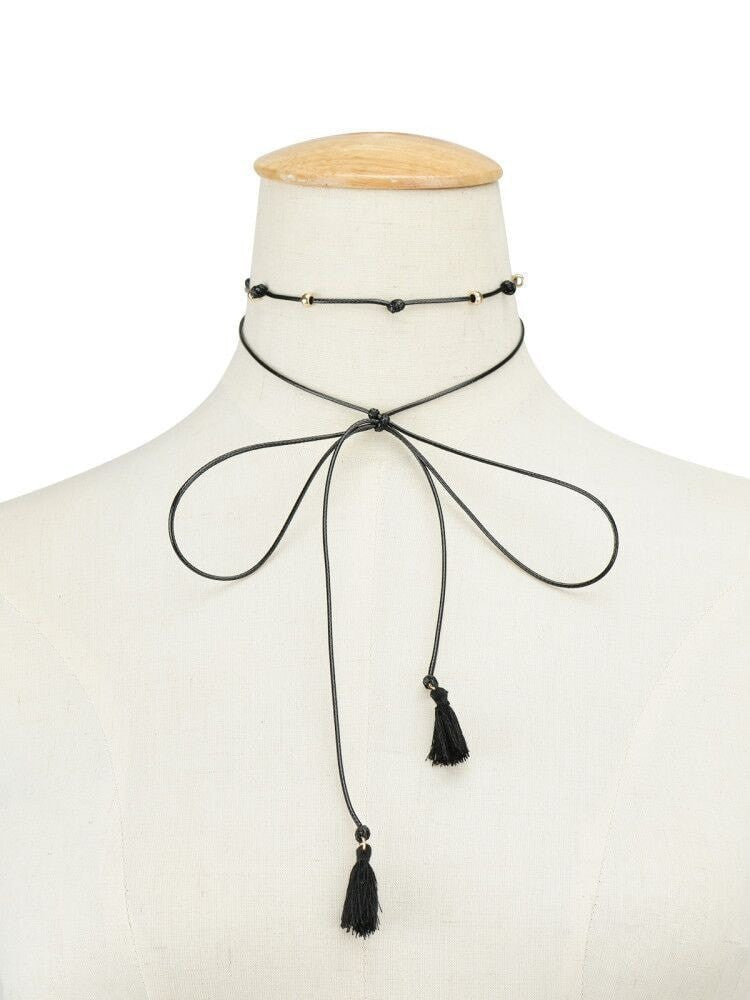 Tassel Rope Choker Necklace  - Korean Fashion