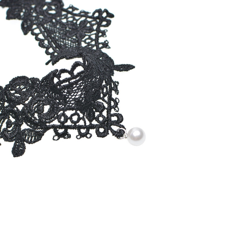 Pearl Drop Lace Choker Necklace Jewelery - Korean Fashion